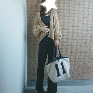 ママコーデ*re:EDITのケーブルカーデとHAYNIさんの100点満点ボアバッグ♡