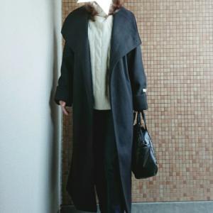 ママコーデ*re:EDITビッグカラーコートでモノトーンに♡やっと届いた憧れバッグ!