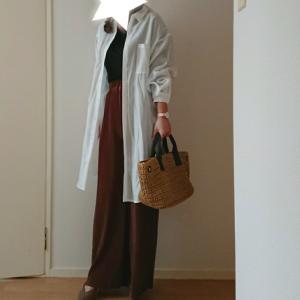 coordinate*しまむら購入品♡春の羽織のロングシャツを楽ちんプリーツワイドパンツと♡