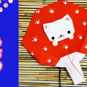 折り紙でネコちゃんのうちわを作ってみました。