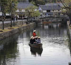 倉敷川の棹差し船