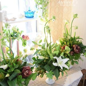 夏の花を使ったグリーンアレンジレッスン【フラワーアレンジメント教室 アトリエフィーズ】
