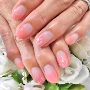 定額デザインより 桜カラーシェルネイル