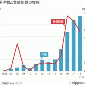 太陽光関連業者の倒産、過去最多を更新 : 太陽光バブルは終わり、採算悪化か