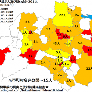 福島の甲状腺ガンを発病した子供達の市町村を地図化する