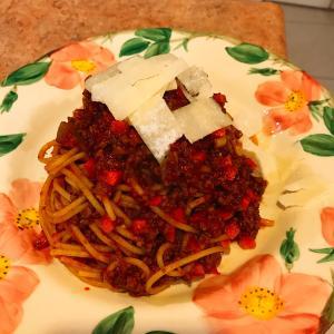 今夜はミートソーススパゲッティ♪