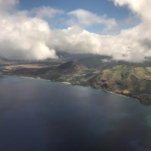ホノルル上空からの景色