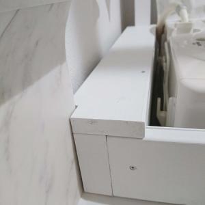 ⑪ ついに、『洗面所完成♪』 ジョイントした材料はコレでした。 《賃貸DIY編》