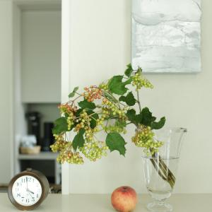 夏の切り花はハードルが高い。葉だけの枝物だと味気ない。そんなときは「実もの」で
