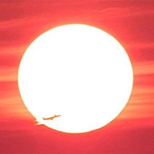 八尾空港ランウエー27エンター夕刻のフォト散歩 陽面通過