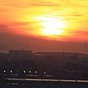 秋の夕陽ウィーク 明石海峡大橋 2020 09 15