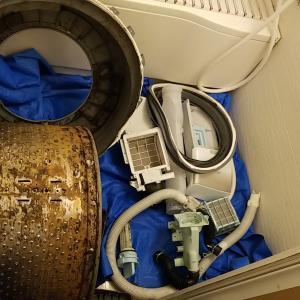 三重県桑名市 東芝製ドラム式洗濯乾燥機分解クリーニング作業
