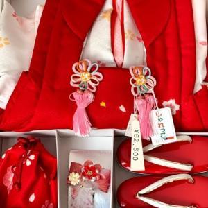 七五三,3歳女児祝い着セットとリメイク服パンジャビ2着目は小紋の着物から