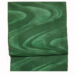 グリーンのグラデーションが華やかな流水柄の袋帯