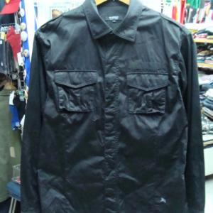 バーバリーブラックレーベル スナップ留め シャツジャケット 黒 (size3)