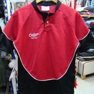 Cotton TRADERS コットントレーダース ポリエステル 半袖ラガーシャツ 赤 (O)