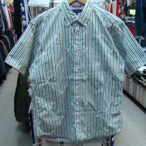 TOMMY HILFIGER トミーヒルフィガー ストライプ コットン 半袖BDシャツ (XL)