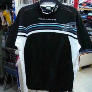 PARADISO パラディーゾ ポリ×コットン 半袖 ハイネックシャツ 黒 (M)
