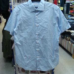BARNEYS NEWYORK バーニーズ ニューヨーク 半袖シャツ 水色ギンガム (L)