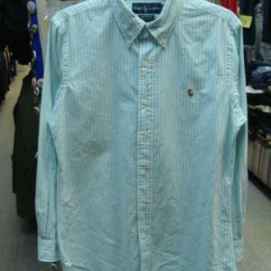 【使用感強め】 Ralph Lauren ラルフローレン 長袖BDシャツ 水色ストライプ (M)