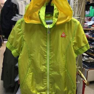 Lecoq golf ルコック ゴルフ 半袖 ナイロン フルジップ ジャケット フード 黄緑S