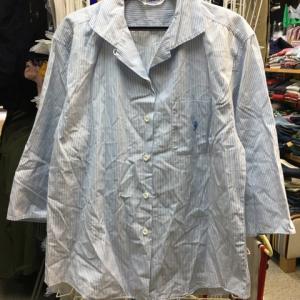 横浜元町 FUKUZO フクゾー タツのおとしご刺繍 七分袖 開襟シャツ ストライプ 36/91
