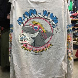 RON JON SURF SHOP ロンジョン 袖 プリント ロング Tシャツ 長袖 グレーXL