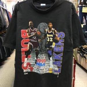 1991年NBA FINAL初制覇 ジョーダン マジックジョンソン ブルズ レイカーズ Tシャツ