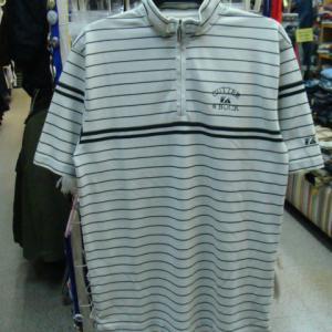 【使用感強め】 カッター&バック 鹿の子 半袖ハーフジップシャツ ライトグレー (M・大きめ)