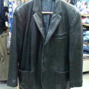 MEN'S BIGI メンズビギ レザー テーラードジャケット 黒 (M)