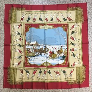 エルメス HERMES カレ PLAISIRS DU FROID 氷上の喜び スカーフ89x89