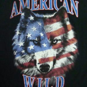 90s フルーツオブザルーム AMERICAN WILD 半袖Tシャツ 黒 (XL)