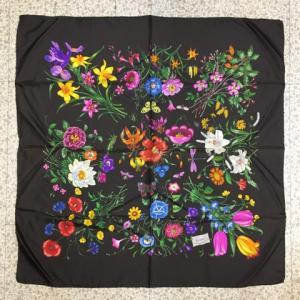 イタリア製 GUCCI グッチ 花 昆虫 蝶 シルク スカーフ フラワー 濃茶 87x87cm