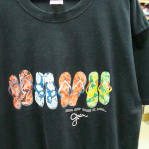 Guam グアム サンダル柄 半袖Tシャツ 黒 (XL)