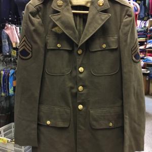 米軍 陸軍 制服 上衣 アーミー ジャケット 階級章 部隊章 ピンバッジ 茶 39EXL