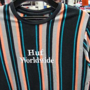 HUF ハフ 刺繍 マルチストライプ 長袖Tシャツ (M)