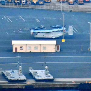 【朝日新聞】横浜港の米軍施設にオスプレイが駐機しています。市は把握せず