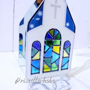 グラスアート作品・今度は2014『ミラーキャンドルホルダーハウス』を制作