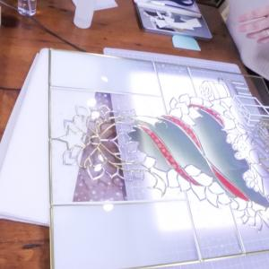 グラスアート教室 生徒様の制作風景