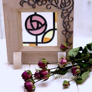 一週間経った薔薇とグラスアート教室