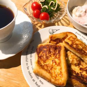 最近の習慣 ベランダで朝食