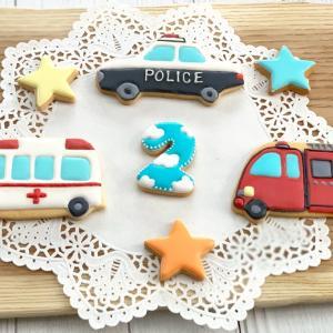 男の子のお誕生日に乗り物のオーダーアイシングクッキー