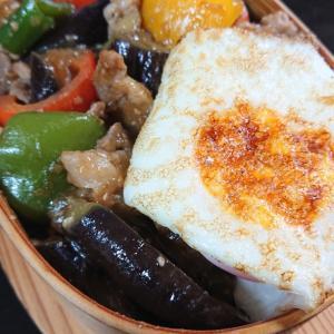 茄子とピーマン豚肉炒め丼弁当