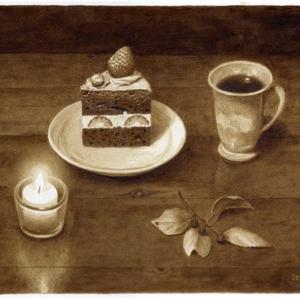 珈琲で絵を描いた  珈琲とチョコレートショートケーキ