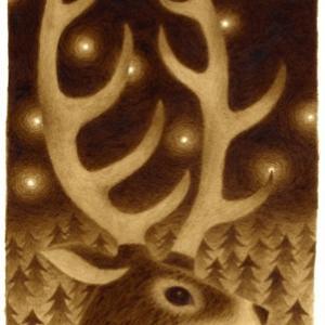 珈琲で絵を描いた  鹿の夜