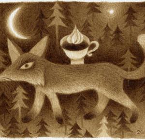 珈琲で絵を描いた  ウィンナー珈琲の狐
