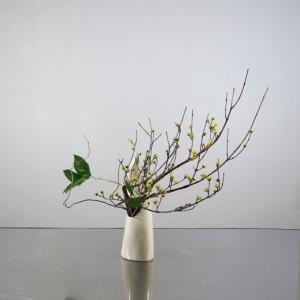 サンシュユとレモンリーフを、変形花器に