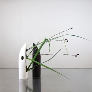 オクラレルカとヤシャブシを、変形花器に