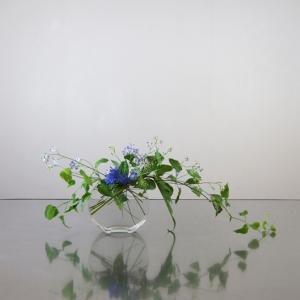 利休草と青い花、透明の花器に