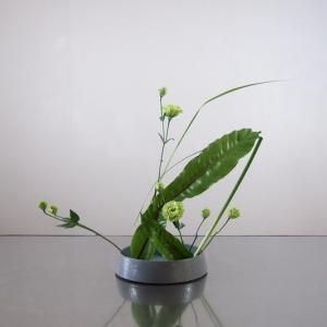 グリーンの濃淡で生ける、渋いグレーの古い花器で